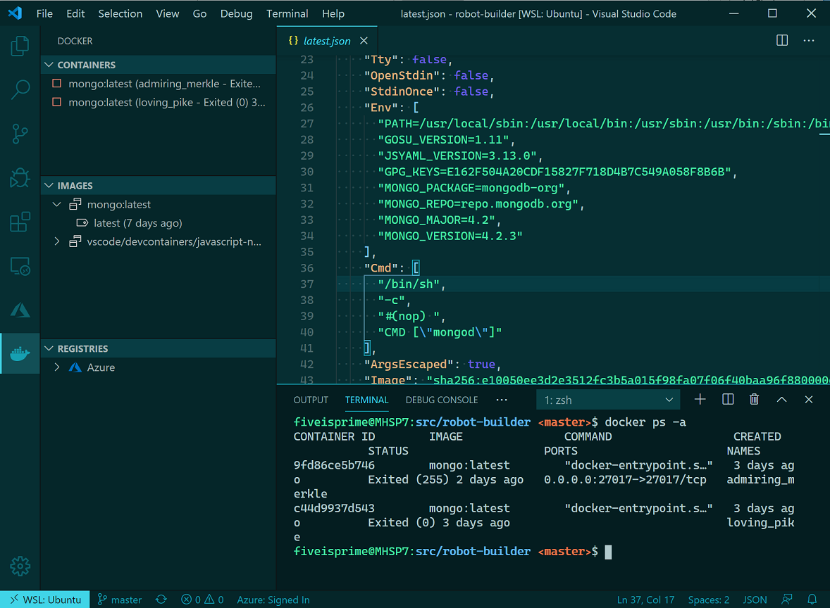 VS Code working with containers in WSL