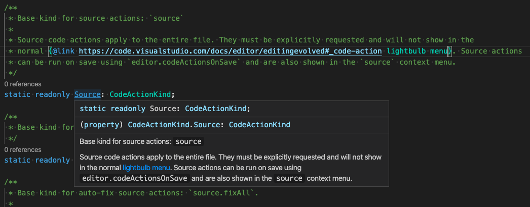 A hover with a rendered @link JSDoc tag