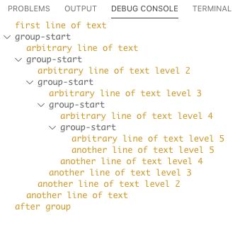 Debug Console grouping