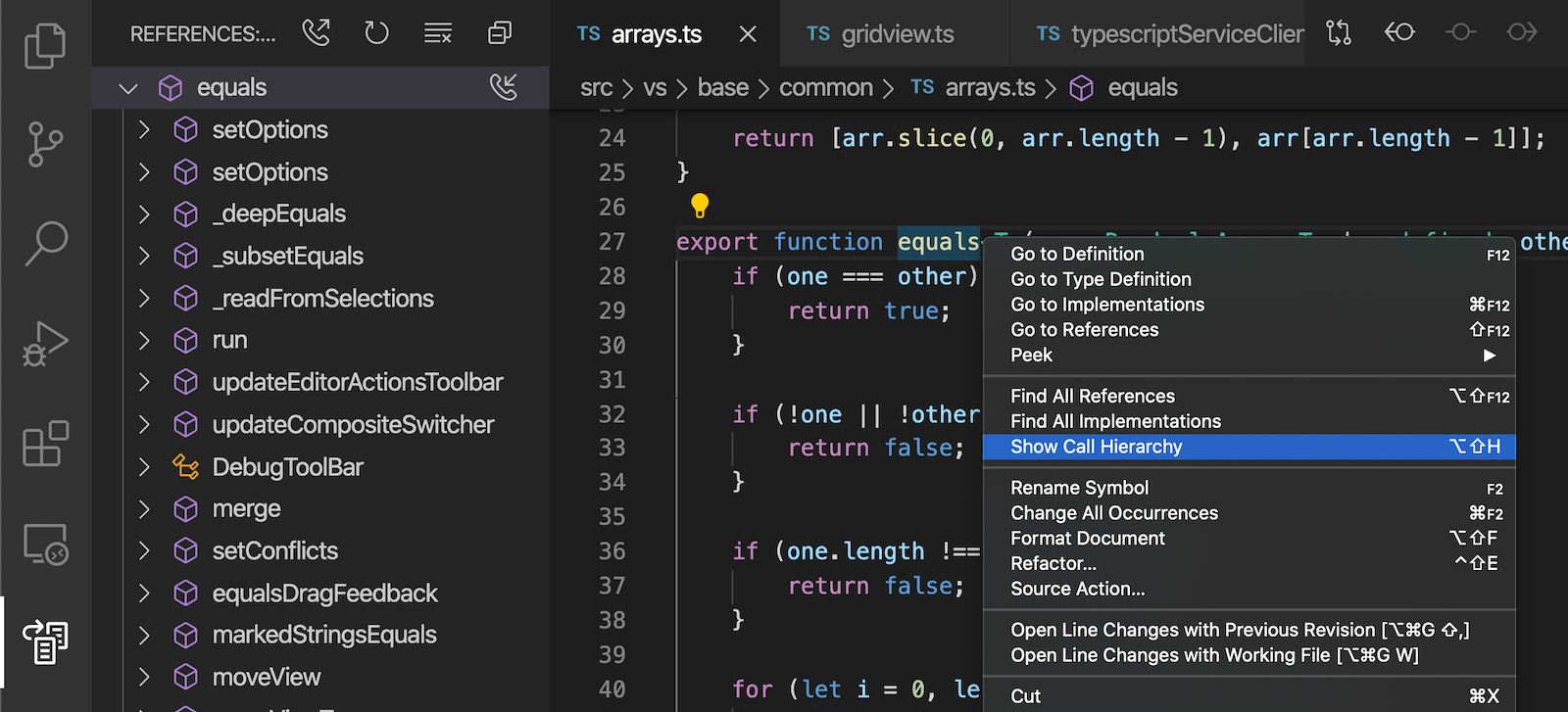 Viewing incoming calls using call hierarchy in a TypeScript file