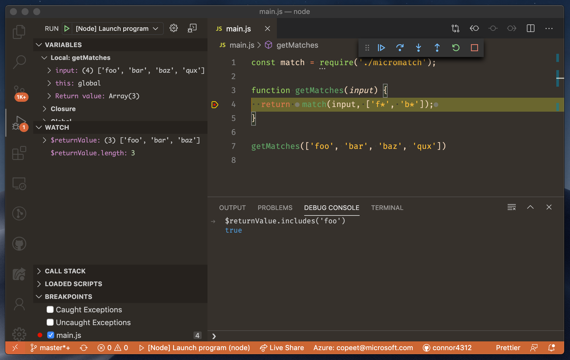 Screenshot showing $returnValue being referenced in the Debug Console and Watch expression