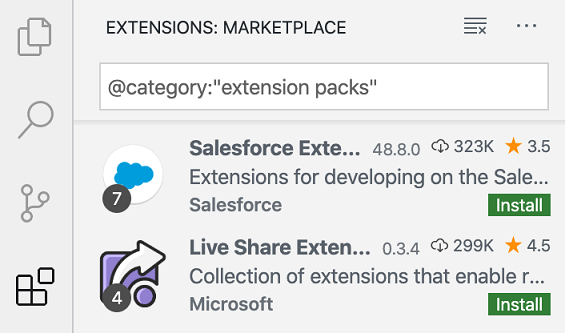 Extension Pack number of extensions badge
