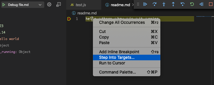 Step into targets in context menu