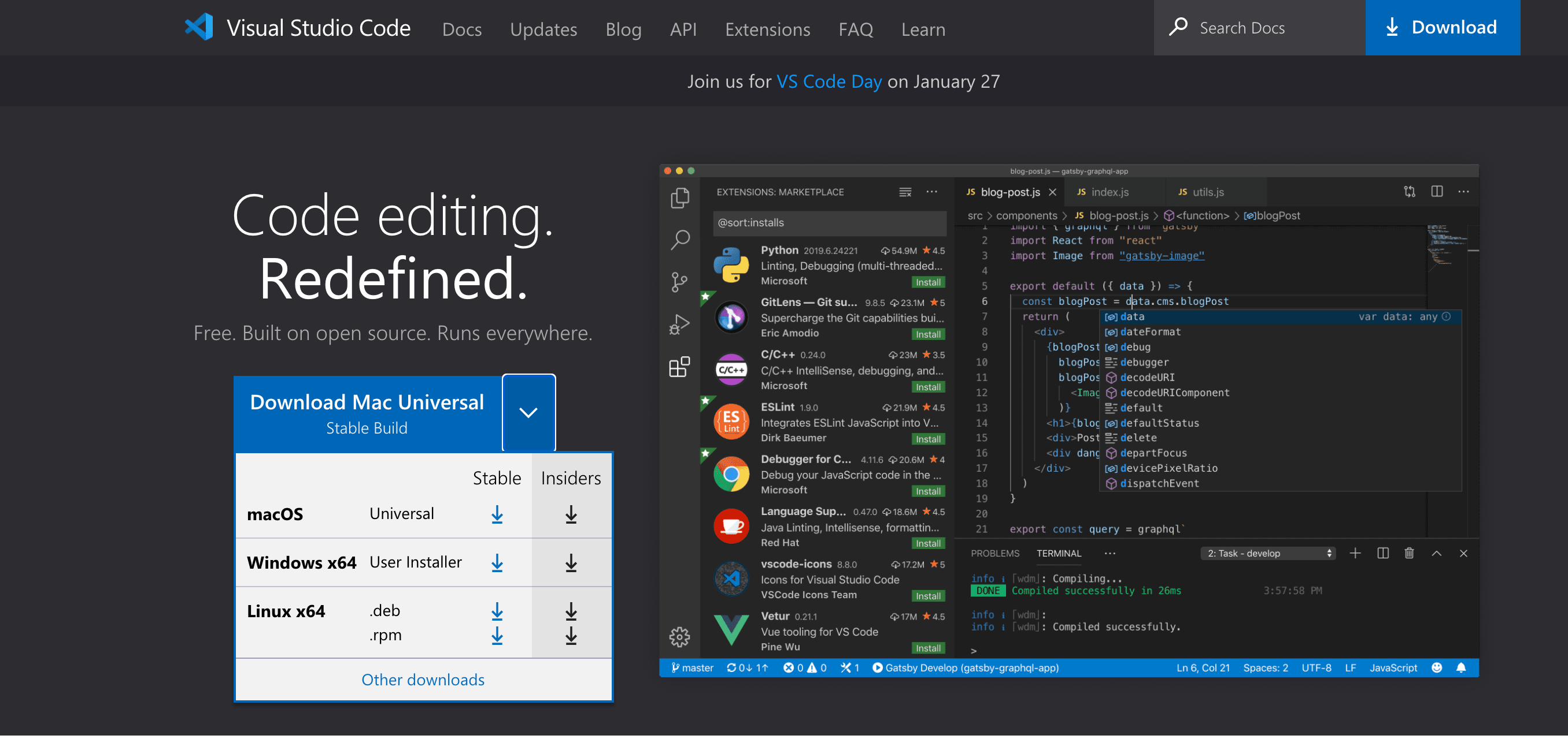 Website showing the default download for macOS