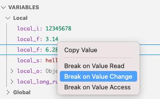 Data breakpoints break on access types
