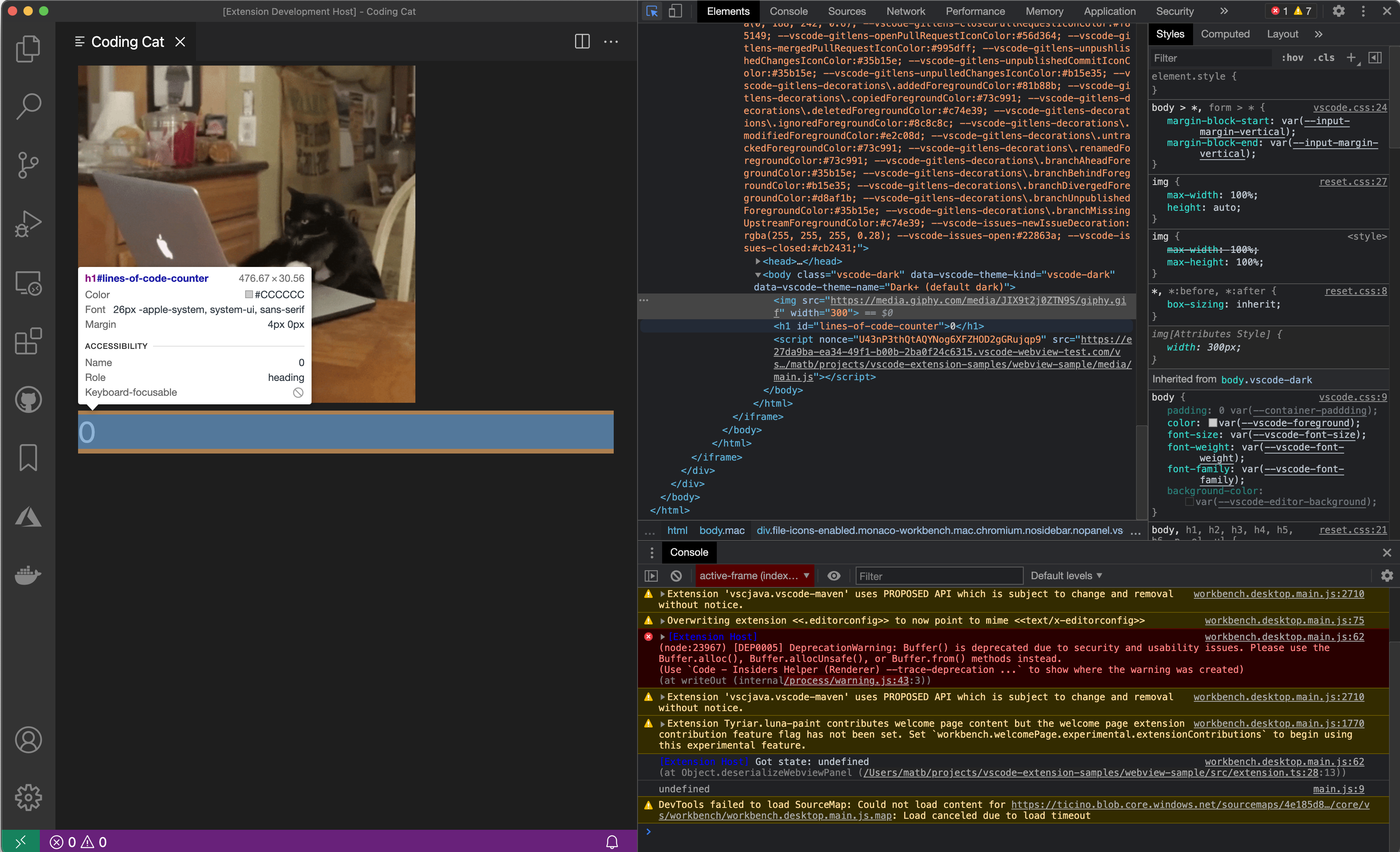 Inspect a webview in the main developer tools window