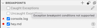 The Breakpoints view shows disabled exception breakpoints that on hover show the error message