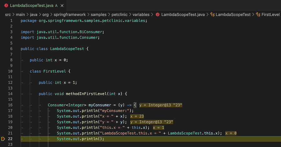 Java extension displaying inline values in the editor while debugging