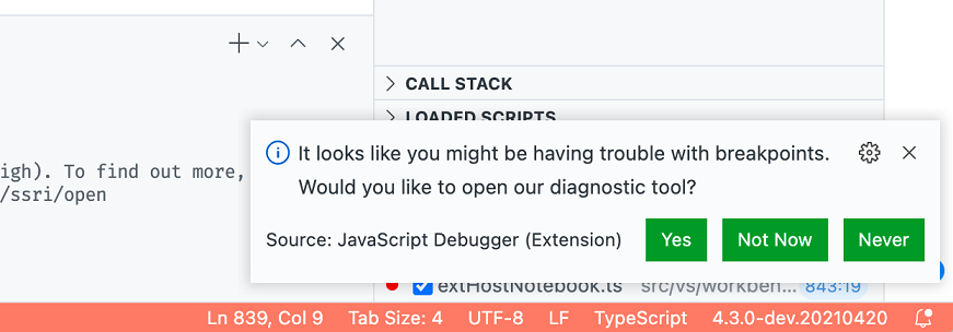 """Notification that reads """"It looks like you might be having trouble with breakpoints, would you like to open our diagnostic tool?"""""""