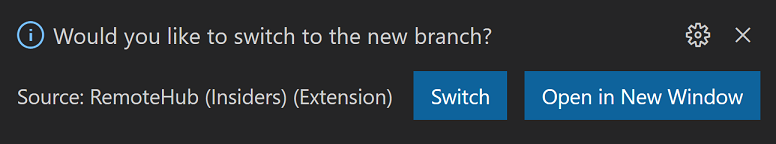 Remote Repositories prompt to switch to new branch
