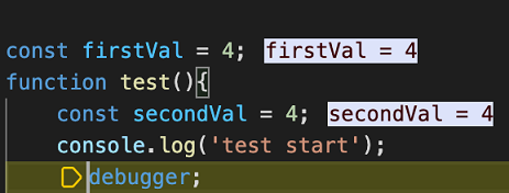 Debug inline values are shown with the foreground and background color customized