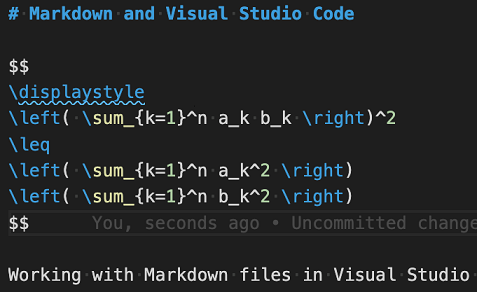 Syntax highlighting of a math equation in a Markdown file