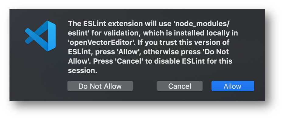 ESLint extension security warning