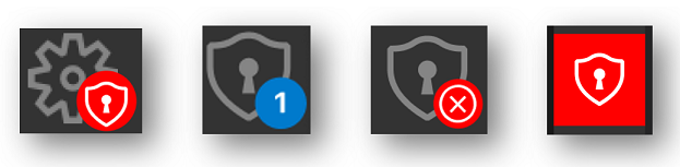 Several early versions of a security icons and badges