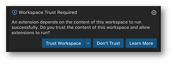 Workspace Trust required prompt