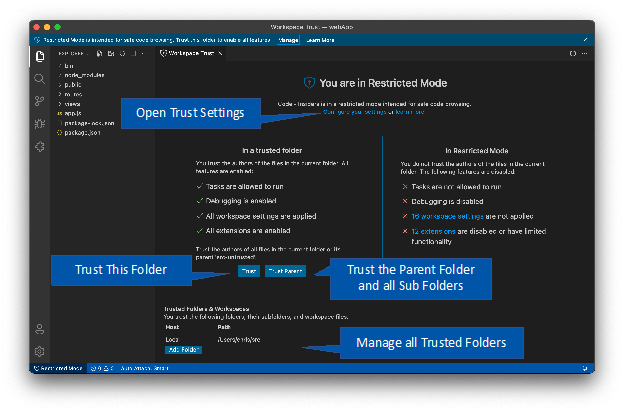 Workspace Trust editor with annotations