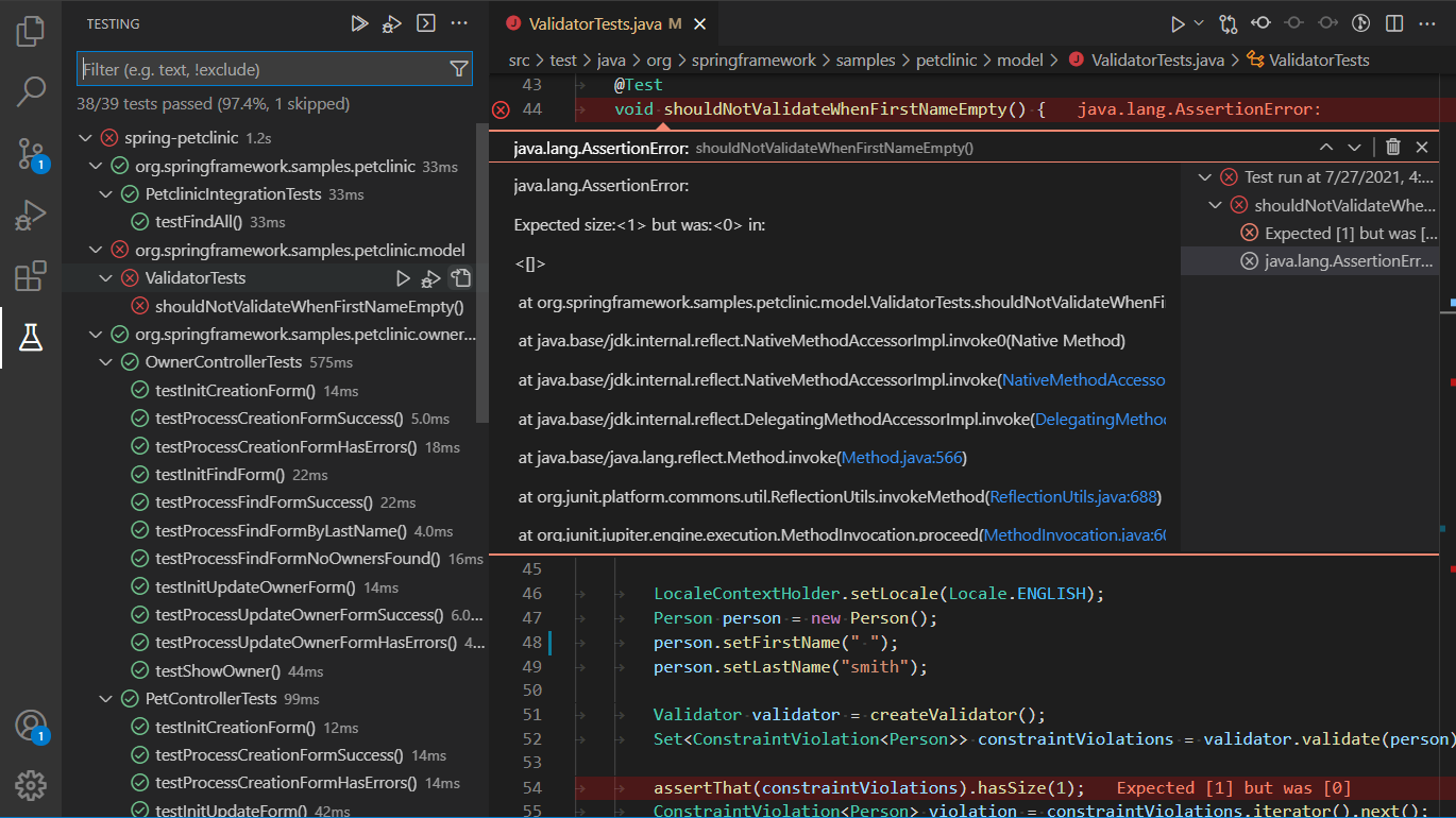Java extension using the native test API in VS Code