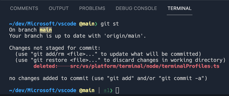 Git output in terminal with underline and strikethrough text