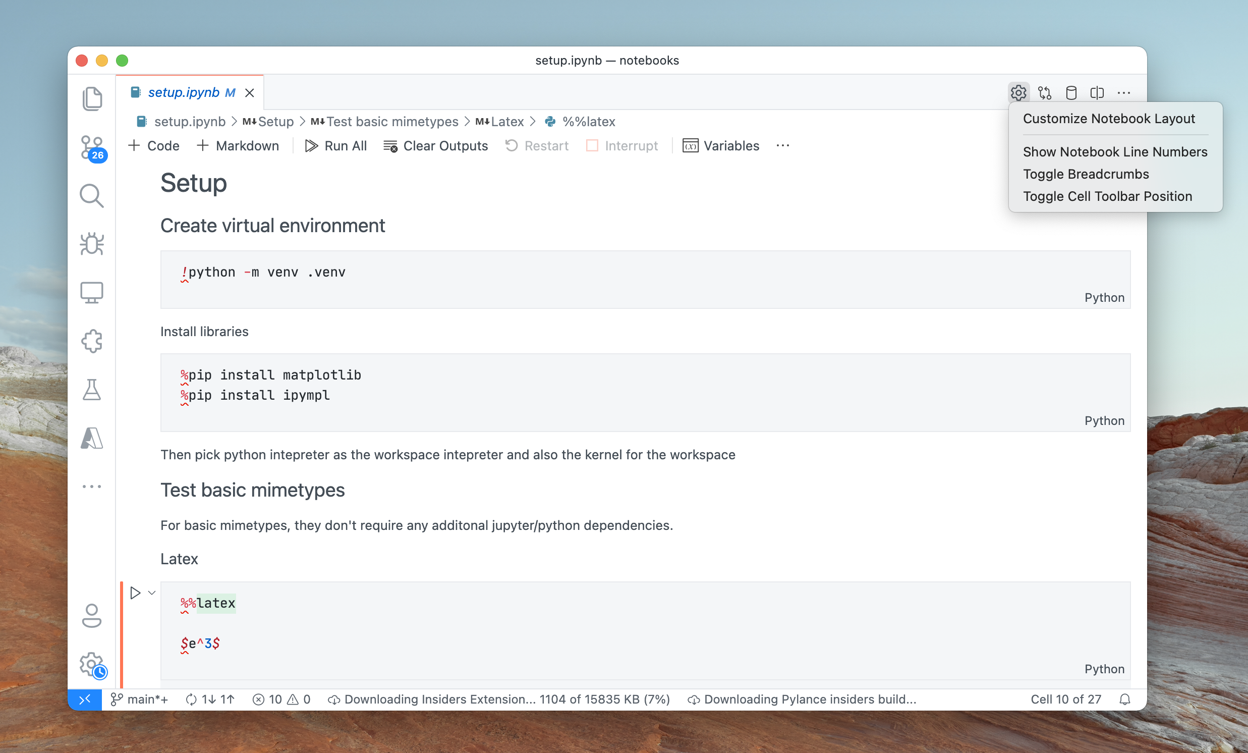 Notebook layout customization actions available in the editor toolbar