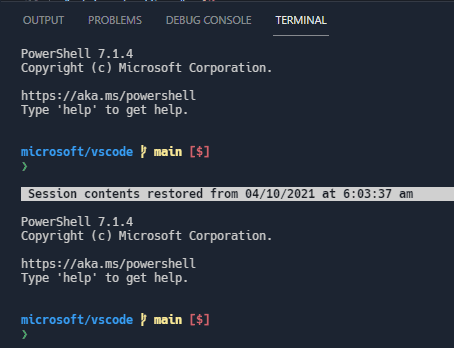 The terminal buffer gets restored on application restart with a message indicating when the snapshot was taken