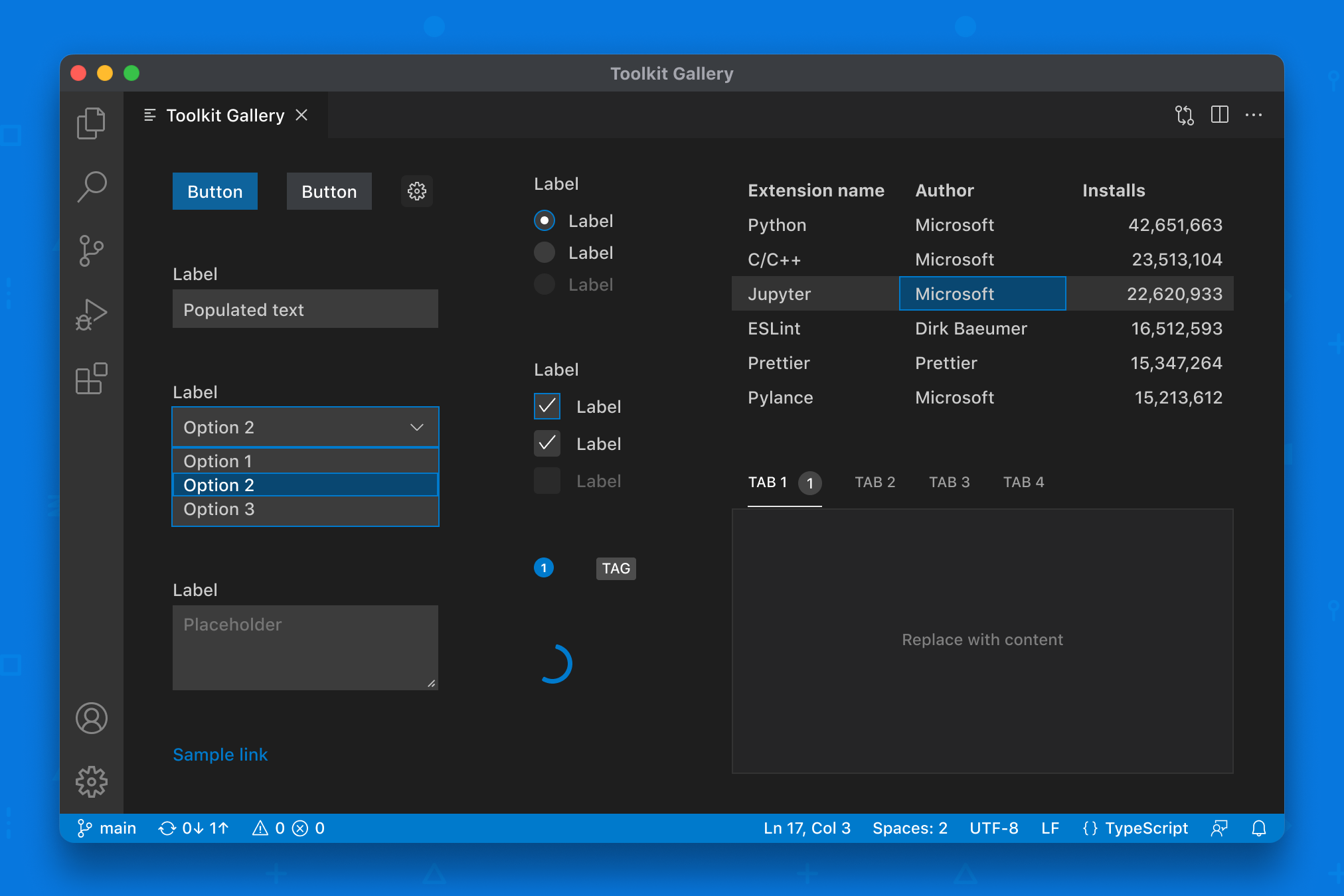 Webview UI Toolkit for Visual Studio Code: gallery view of components